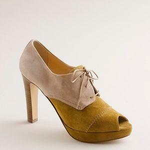 J.Crew Odeon High Heel Oxfords Peep Toe Shoes 8.5